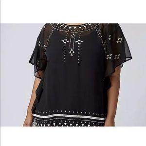 Lane Bryant 18/20 embellished flutter sleeve top